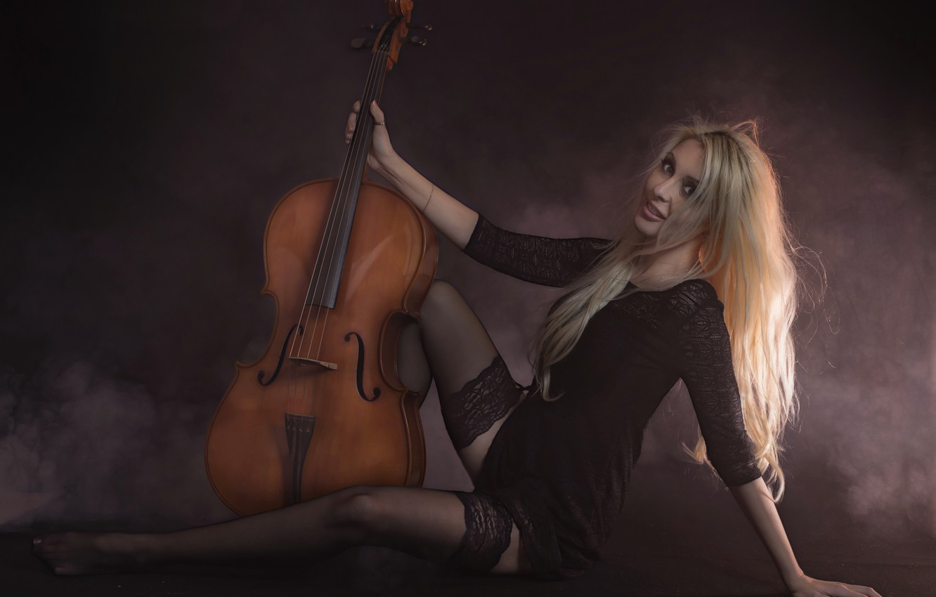 Photo wallpaper girl, pose, music, cello