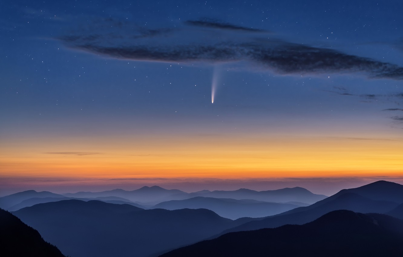 Photo wallpaper the sky, stars, clouds, mountains, comet, sky, mountains, clouds, stars, comet, NEOWISE, Hua Zhu