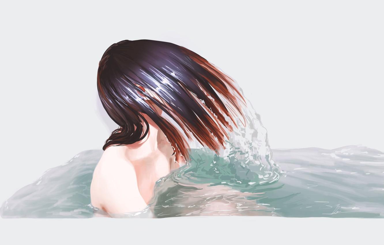 Photo wallpaper Water, Girl, Figure, Hair, Bathroom, Art, Mermaid, Illustration, bathtub, Itaveli, by Itaveli