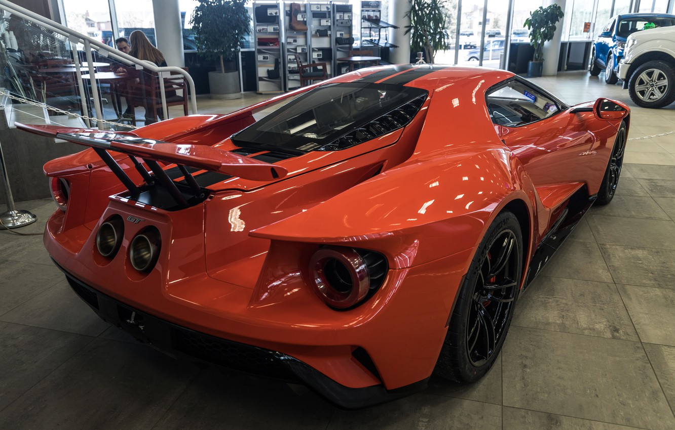 Photo wallpaper orange, Ford GT, sports car, rear view, 2020 Ford GT