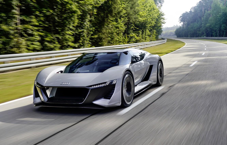 Photo wallpaper grey, Audi, track, the fence, 2018, PB18 e-tron Concept