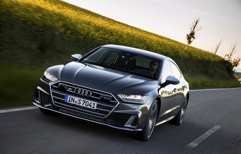 Photo wallpaper Audi, roadside, crops, Audi A7, 2019, S7 Sportback