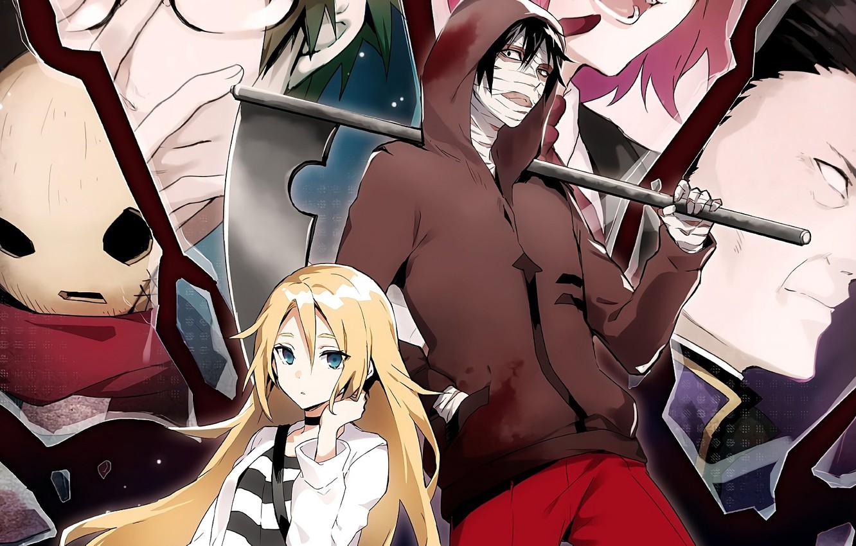 Photo wallpaper girl, mask, guy, two, characters, Angel bloodshed, Satsuriku no Tenshi