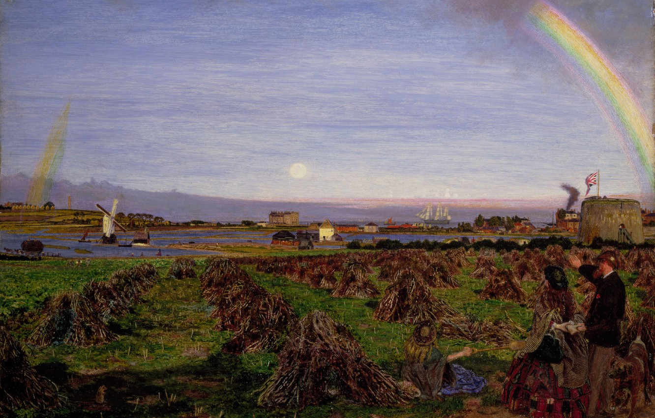 Photo wallpaper the sun, rainbow, Ford Madox Brown, Town Walton on the Cape Naz