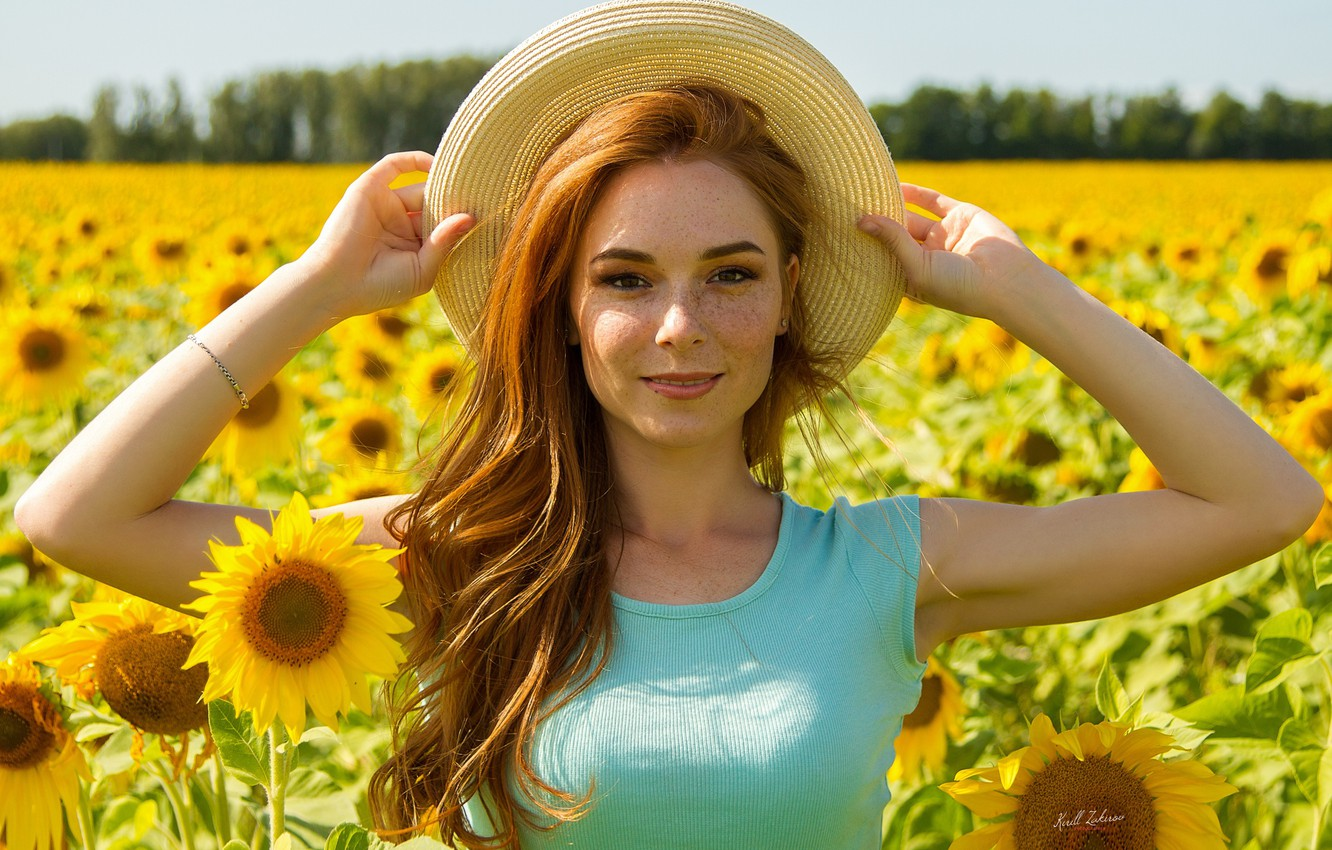 Photo wallpaper field, summer, look, girl, sunflowers, face, mood, hair, hat, hands, freckles, red, redhead, freckled, Cyril …