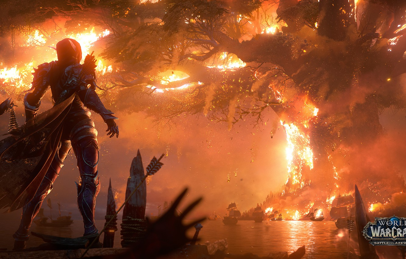 Photo wallpaper fire, flame, fire, flame, undead, Teldrassil, undead, Sylvanas Windrunner, the leader, night elves, Horde, warchief, …