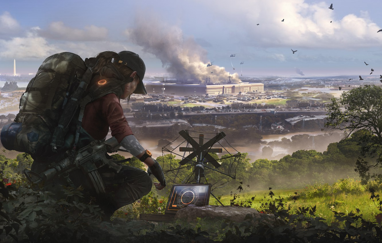 Photo wallpaper girl, art, soldiers, agent, Washington, Ubisoft, Game, Tom Clancy's The Division 2, The Division 2