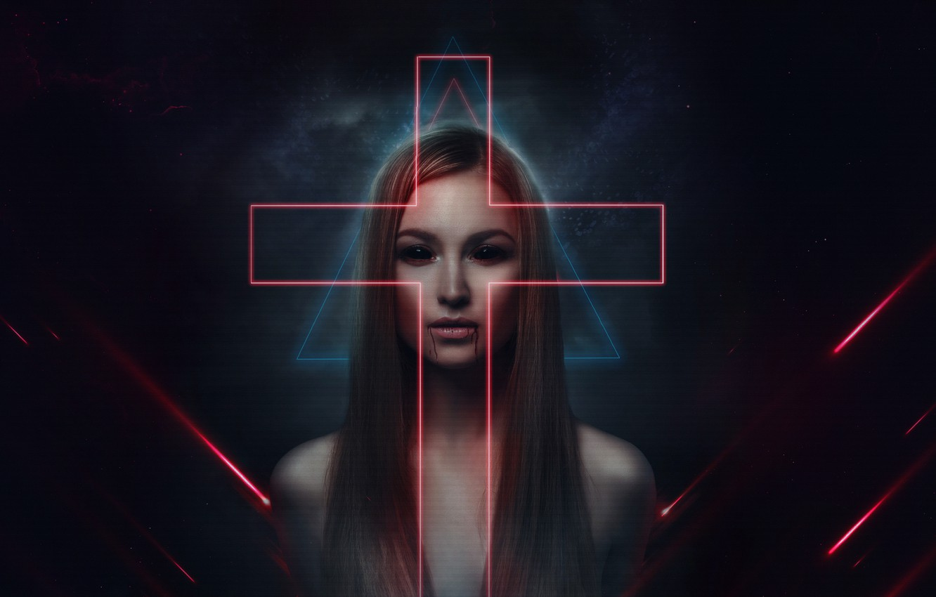 Wallpaper Music Look Cross Style Girl Dark Background The Demon 80s Style Neon Horror Illustration Synth Creepy Retrowave Images For Desktop Section Art Download