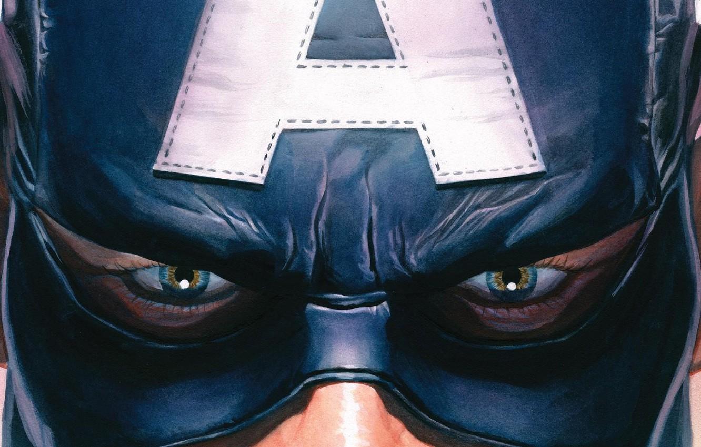 Photo wallpaper fantasy, blue eyes, Marvel, comics, Captain America, artwork, mask, superhero, fantasy art, Steve Rogers, close …