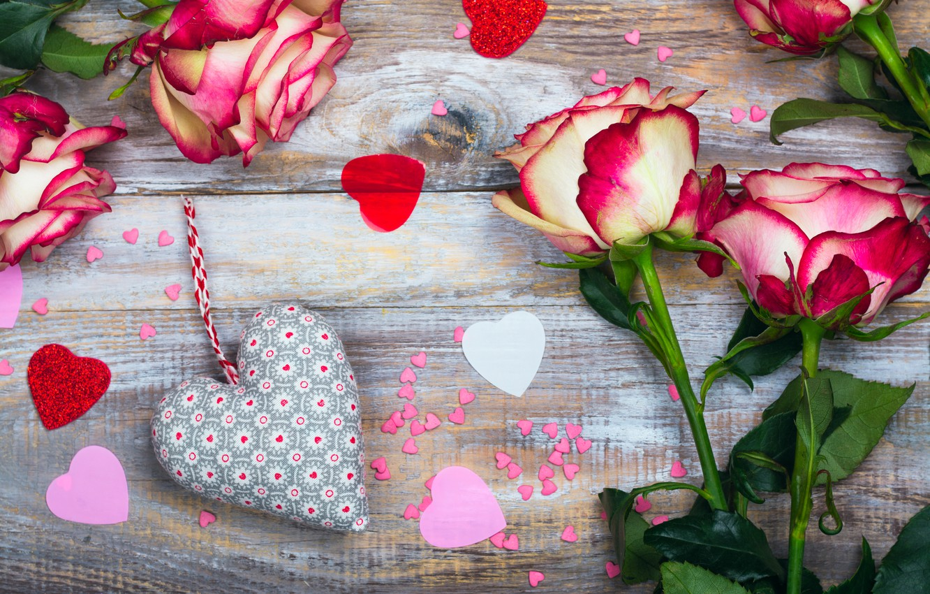 Photo wallpaper flowers, heart, roses, hearts, love, heart, wood, pink, romantic, roses