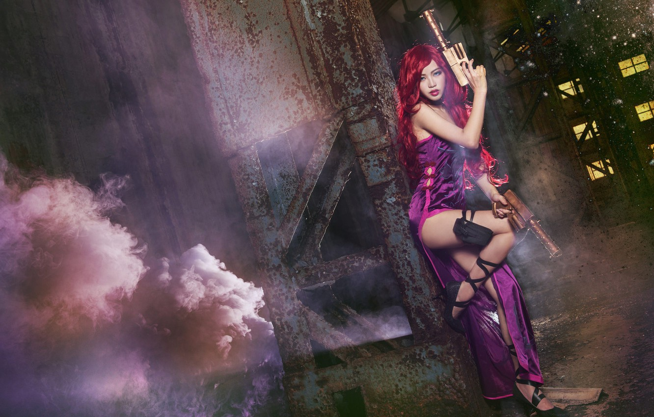Photo wallpaper look, girl, night, the city, lights, the dark background, weapons, background, smoke, dress, couples, shoes, …