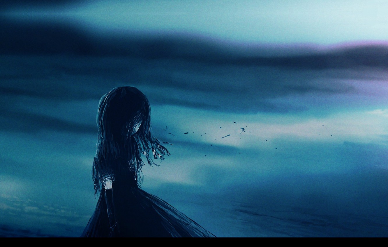 Photo wallpaper void, loneliness, hopelessness, baby, black silhouette, dark place