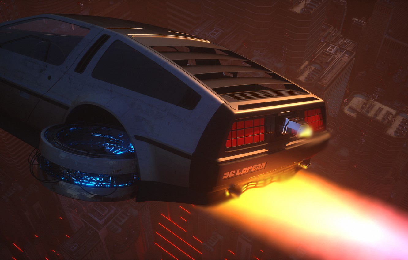 Photo wallpaper Auto, Fire, Machine, Flight, Style, Flame, Fire, DeLorean DMC-12, Art, Art, 80s, Style, DeLorean, DMC-12, …