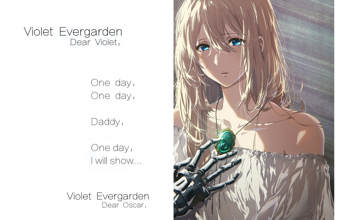 Photo wallpaper text, blue eyes, shoulders, white dress, sad, brooch, iron hand, Violet Evergarden, by Akiko Takase