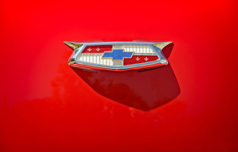 Photo wallpaper Chevrolet, emblem, red background