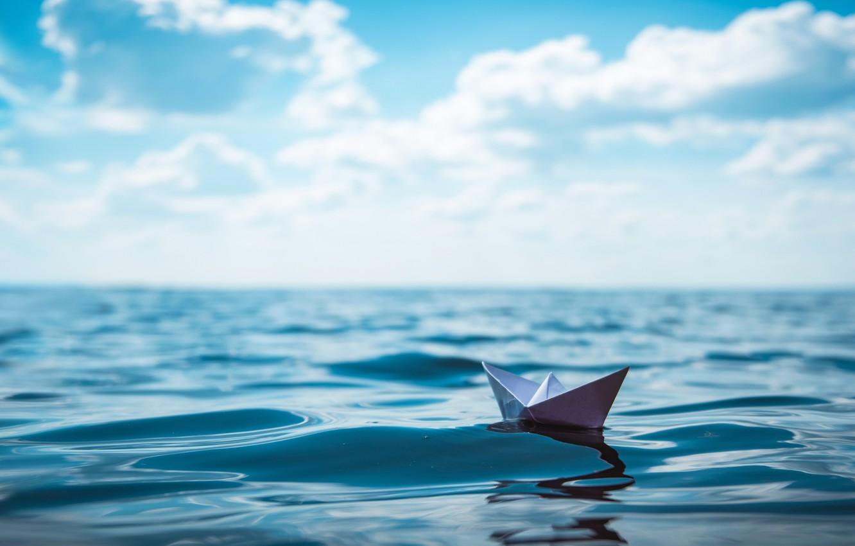Photo wallpaper ocean, water, paper boat