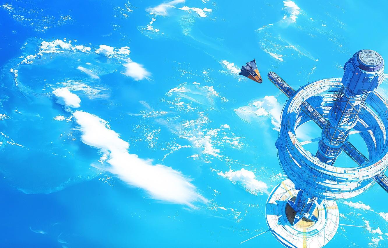 Photo wallpaper fantasy, science fiction, clouds, spaceship, sci-fi, planet, digital art, artwork, fantasy art, futuristic, space station, …