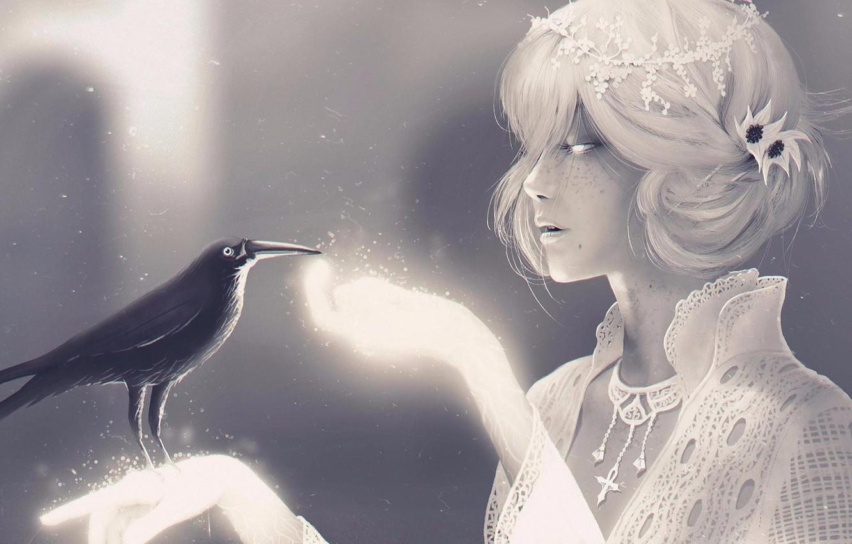 Photo wallpaper Girl, Raven, Blonde, Girl, Fantasy, Art, Art, Fiction, Death, Blonde, Crow, Character, Raven, Crow, Character, …