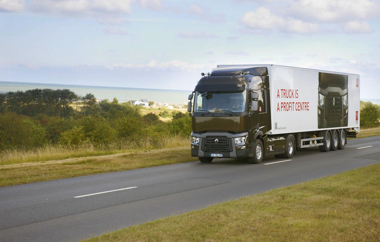 Photo wallpaper road, markup, vegetation, truck, Renault, tractor, 4x2, the trailer, Renault Trucks, T-series