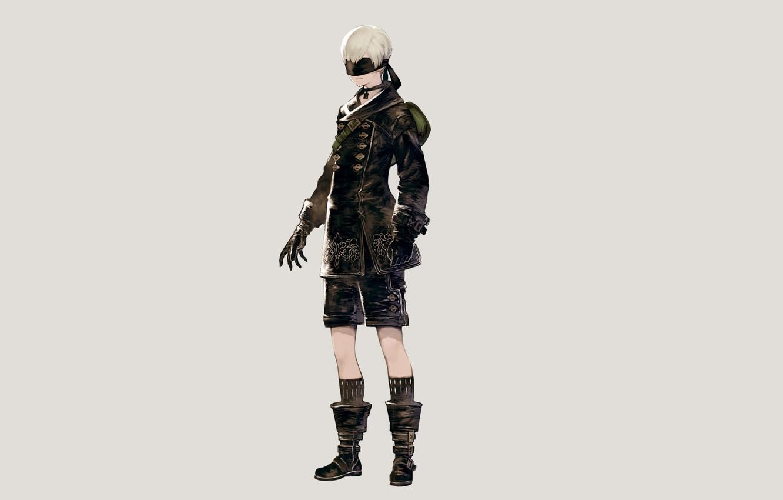 Photo wallpaper background, shorts, boots, jacket, guy, cyborg, eye patch, Nier Automata, YoRHa No 9 Type S