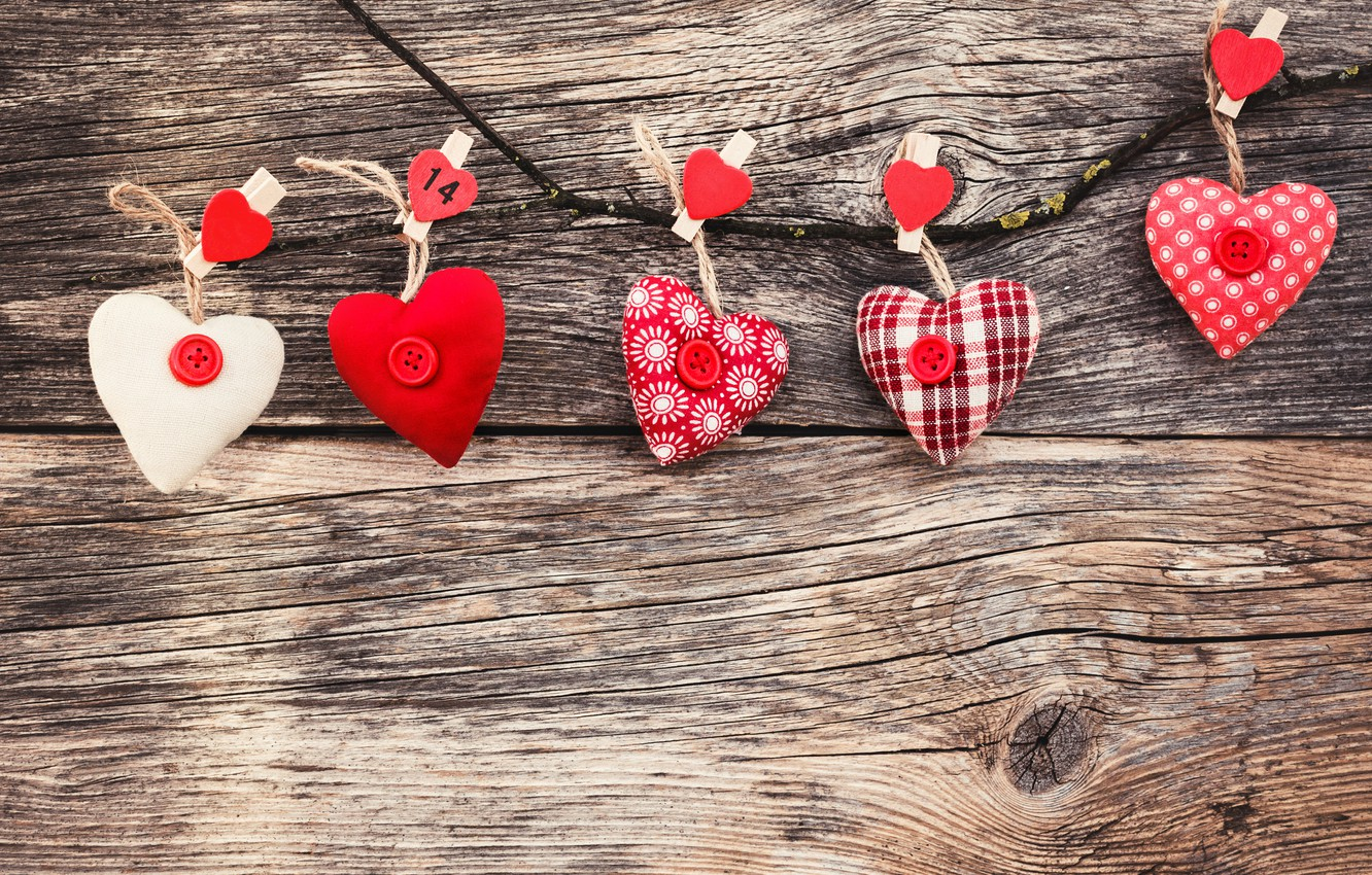 Photo wallpaper love, heart, hearts, red, red, love, wood, romantic, hearts, valentine's day