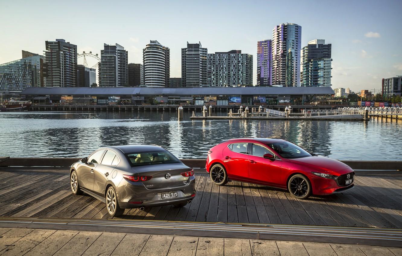 Photo wallpaper photo, Mazda, Cars, Two, Mazda3, 2019
