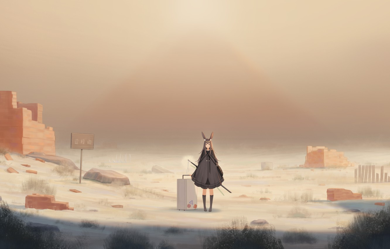 Photo wallpaper girl, dandelion, rabbit, ruins, ears