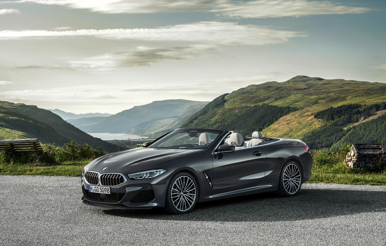 Photo wallpaper mountains, shadow, BMW, convertible, xDrive, G14, 8-series, 2019, Eight, M850i Convertible
