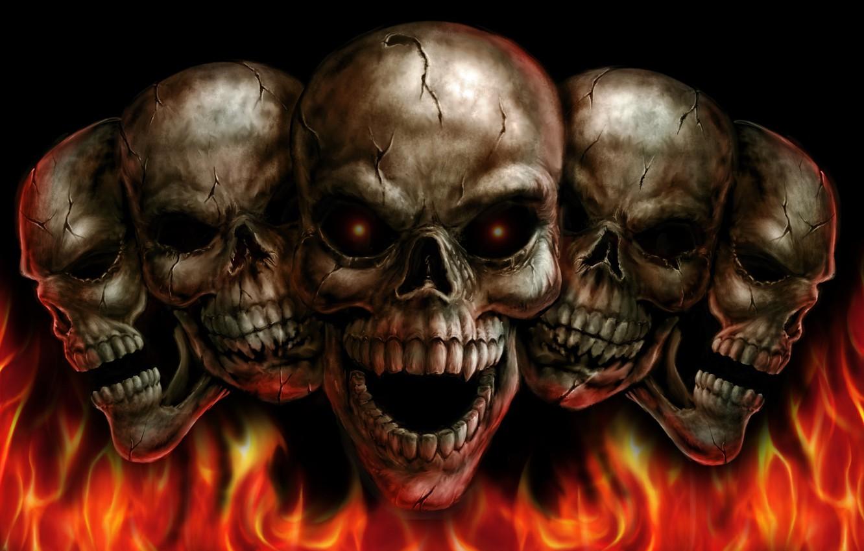 Photo wallpaper fire, skull, orbit
