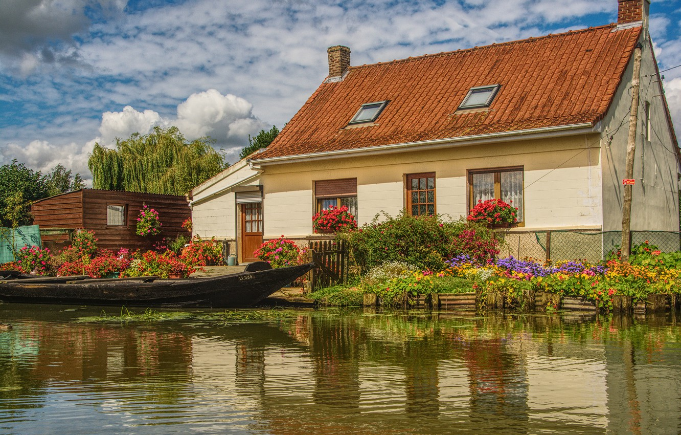 Photo wallpaper greens, summer, clouds, light, flowers, comfort, lake, house, pond, reflection, river, shore, boat, Windows, beauty, …