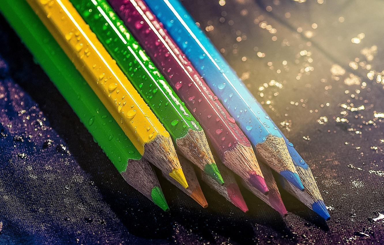 Photo wallpaper drops, photo, colored, pencils