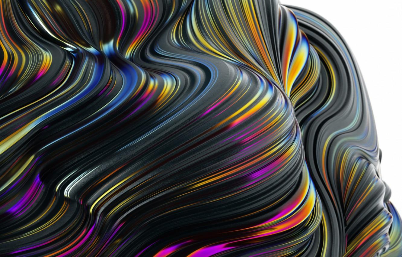 Photo wallpaper wave, line, paint, the volume