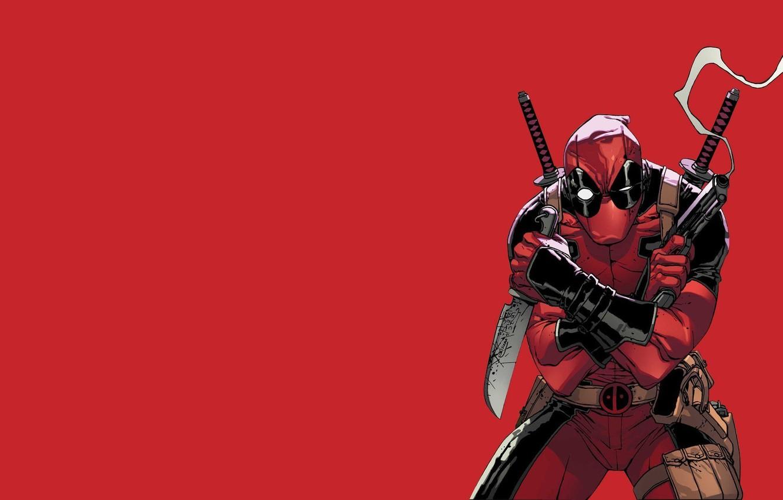Photo wallpaper Red, Gun, Smoke, Knife, Costume, Weapons, Red, Swords, Gun, Deadpool, Marvel, Deadpool, Smoke, Marvel Comics, …