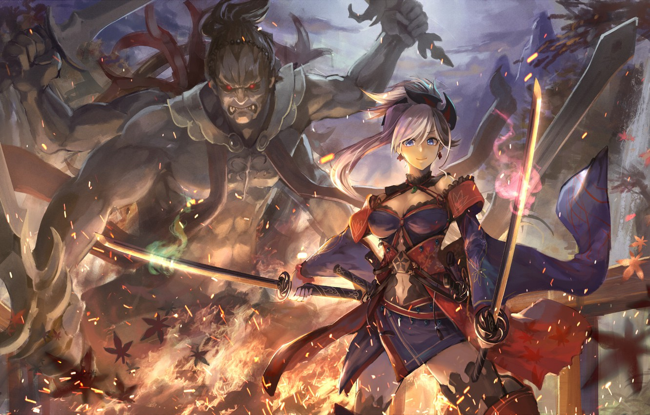 Photo wallpaper girl, monster, sword, Fate / Grand Order, The destiny of a great campaign