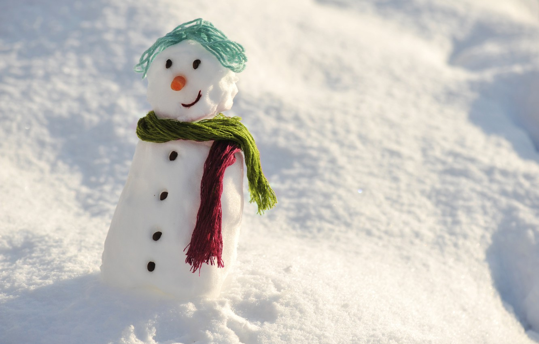 Photo wallpaper winter, snow, snowman, happy, winter, snow, day, snowman