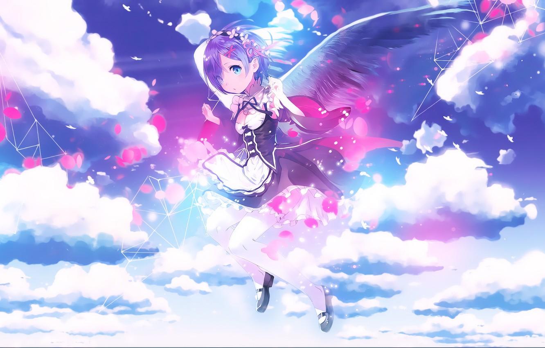 Wallpaper The Sky Clouds Anime Angel Art Re Zero Kara