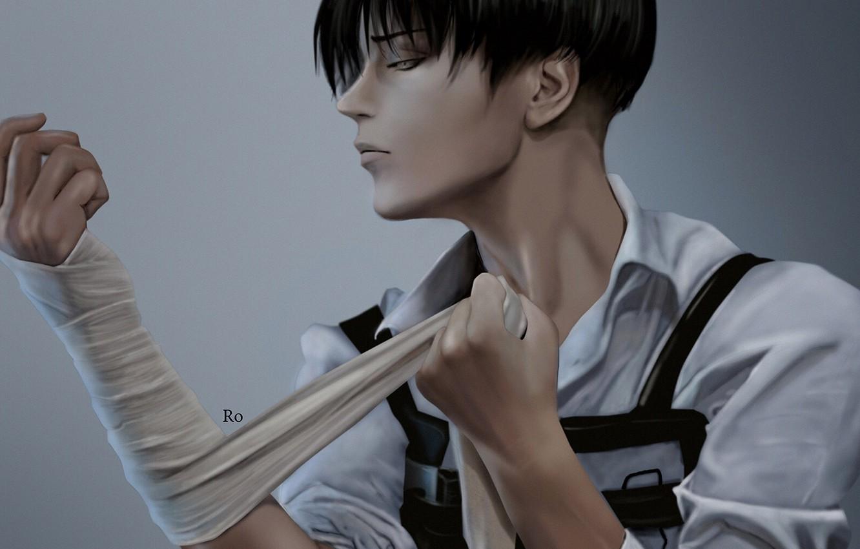 Photo wallpaper hands, bandages, Attack Of The Titans, Shingeki No Kyojin, Levi Ackerman, Levi, by redwarrior3