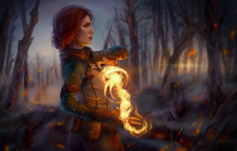 Photo wallpaper magic, profile, red, Triss Merigold, Triss Merigold, The Witcher 3: Wild Hunt, The Witcher 3: …
