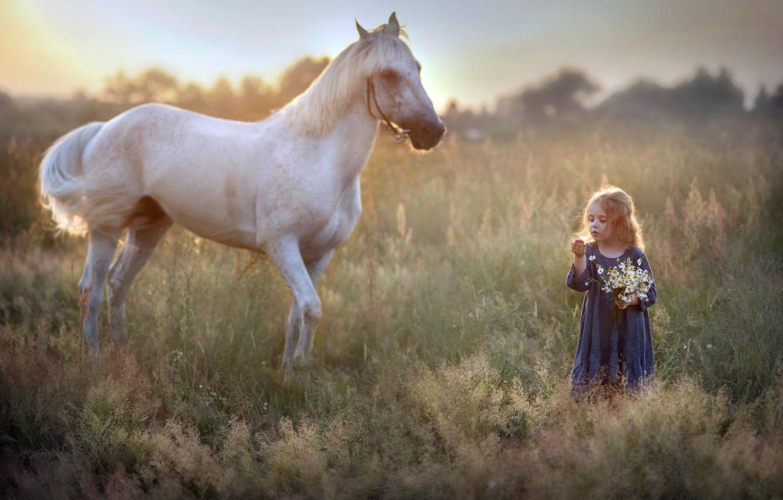 Photo wallpaper nature, horse, girl