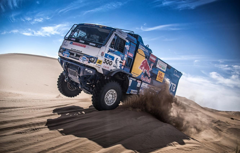 Photo wallpaper Sand, Auto, Sport, Machine, Truck, Race, Master, Russia, Race, Russia, 300, Kamaz, Rally, KAMAZ-master, Rally, …