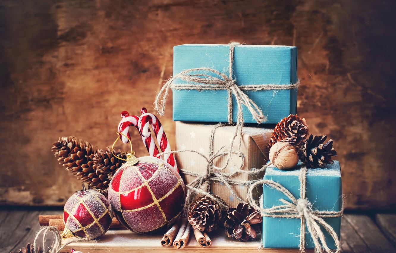 Photo wallpaper decoration, New Year, Christmas, gifts, Christmas, wood, New Year, decoration, xmas, gift box, Merry