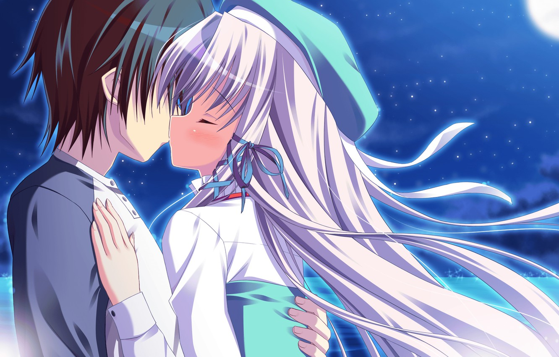 Photo wallpaper kiss, pair, two, Angel Ring
