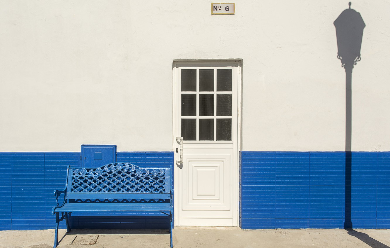 Photo wallpaper house, shadow, the door, lantern, facade, bench