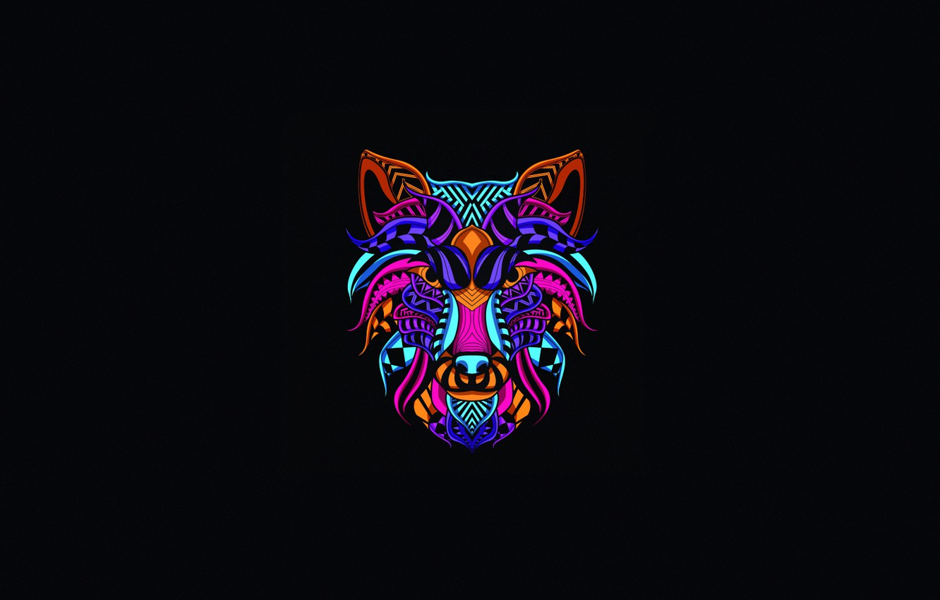 Groovy Wallpaper Minimalism Neon Style Background Wolf Art Download Free Architecture Designs Embacsunscenecom