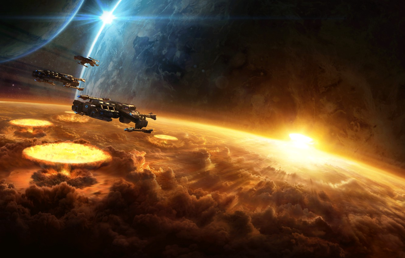Photo wallpaper space, the explosion, planet, destruction, starcraft, nuclear, spaceship, cruiser, strategy, the bombing, Terran, remastered, terrans, …