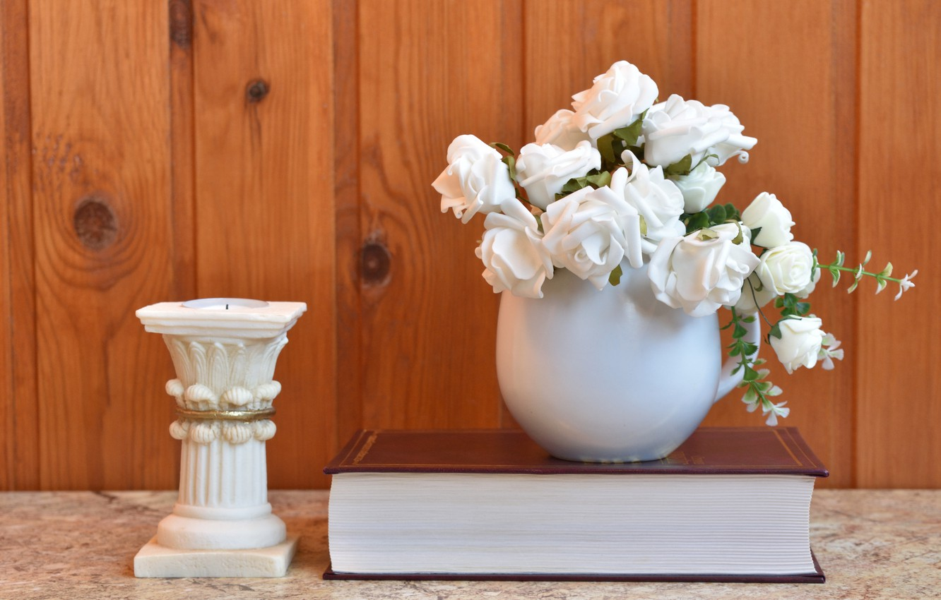 Photo wallpaper white, flowers, book, candle holder, decor