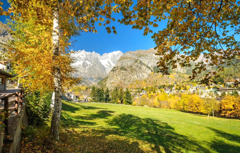 Photo wallpaper autumn, mountains, Italy, Valle d'aosta, Курмайор