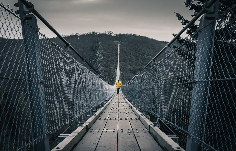 Photo wallpaper bridge, nature, people
