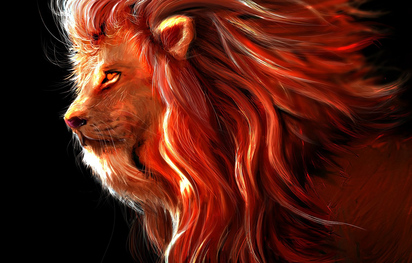 Photo wallpaper wallpaper, art, lion, predator, painting, rendering, digital art, big cat, king of beasts, 4k ultra …