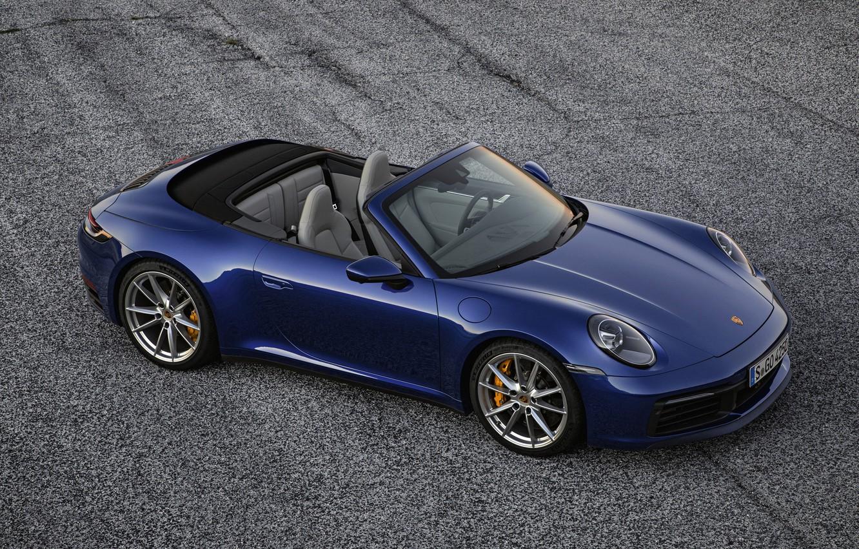Photo wallpaper blue, background, 911, Porsche, convertible, Cabriolet, Carrera 4S, 992, 2019